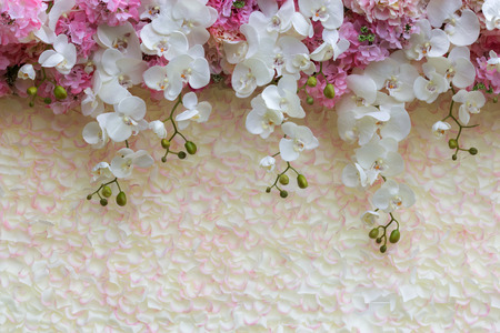 romantic flowers: Floral background. Lot of artificial flowers