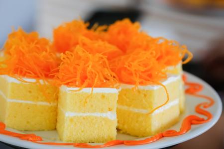 Gold Egg Yolk Thread Cakes, Thai call Cake Foi Tong Stock Photo