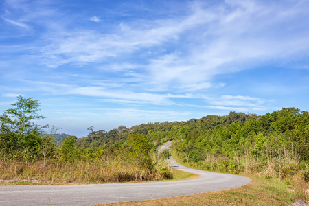 country road at the mountian in Thailand. Stock Photo