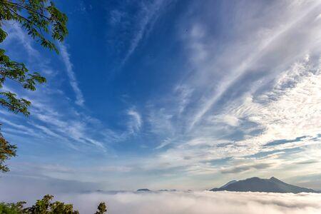 khan: Landscape lot of fog Phu Thok Mountain at Chiang Khan ,Loei Province in Thailand. Stock Photo