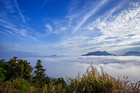 Landscape lot of fog Phu Thok Mountain at Chiang Khan ,Loei Province in Thailand. Stock Photo