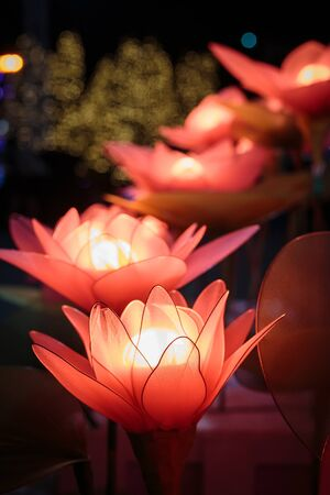 Decoration handmade artificial flowers with light at night
