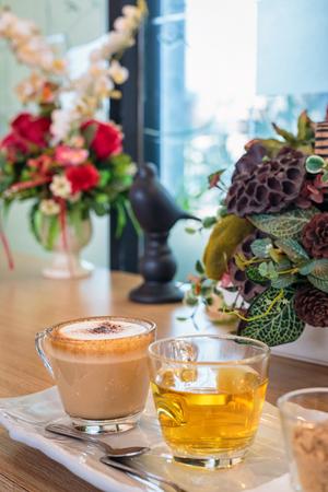 Cappuccino coffee cup and tea,Hot coffee in white mug,hot tea