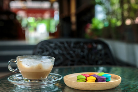 Dessert, French macaroon and coffee Stock Photo