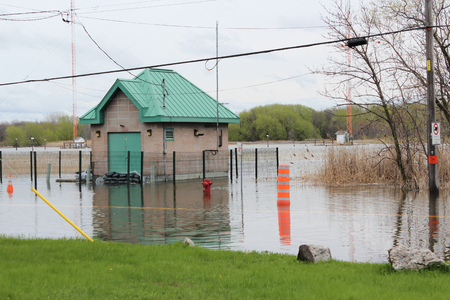 pooled: The communication house in St-Joseph du Lac, completely flooded by water on May 6th 2017