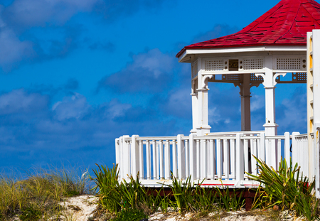oceanic: Colorful gazebo on a hill Stock Photo
