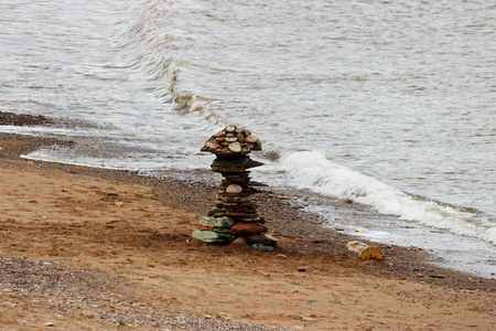 Inukshuk, native sculpture made of stones left on the shore
