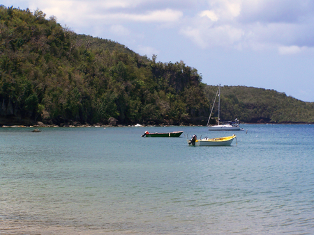small boats in the bay of the Caribbeans