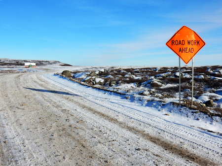 Road work sign in Kuujjuaq on the Road to Nowhere