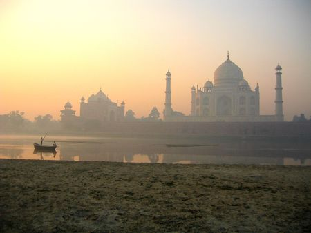 Taj Mahal palace in India on sunset