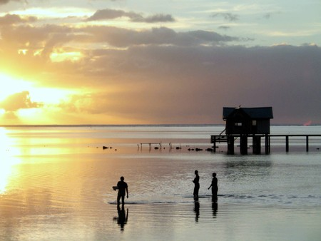 Sunset in French Polynesia Stock Photo