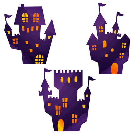 halloween icons by watercolor paint touch  イラスト・ベクター素材