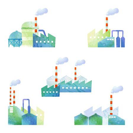 cut: cut illustration of factories Illustration