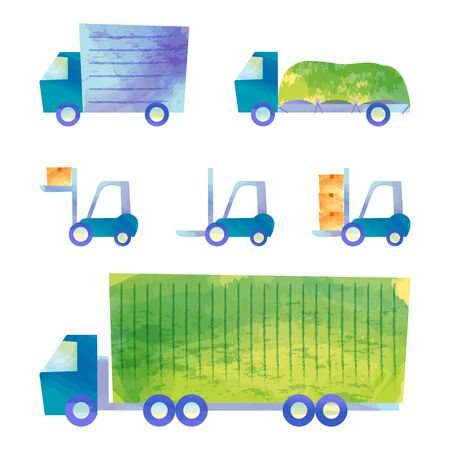 Trucks and forklifts on a white background.  イラスト・ベクター素材