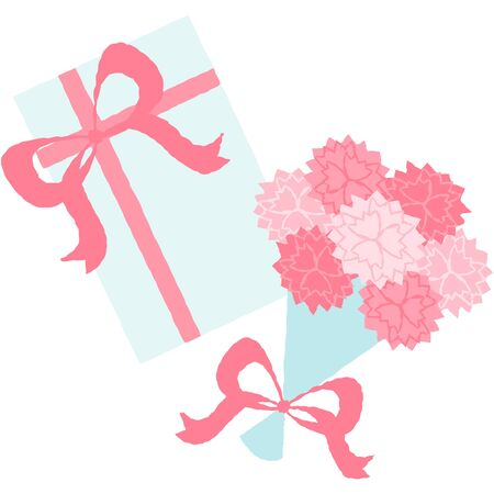 Mothers day gift and flowers with pink ribbon.  イラスト・ベクター素材