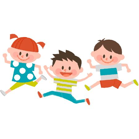 Cartoon kids jumping. Illustration