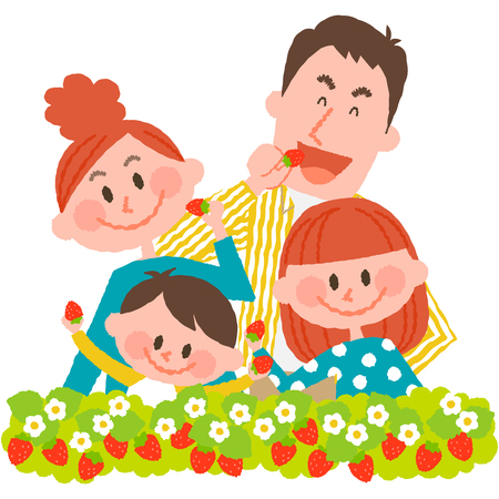 asian family: strawberry picking