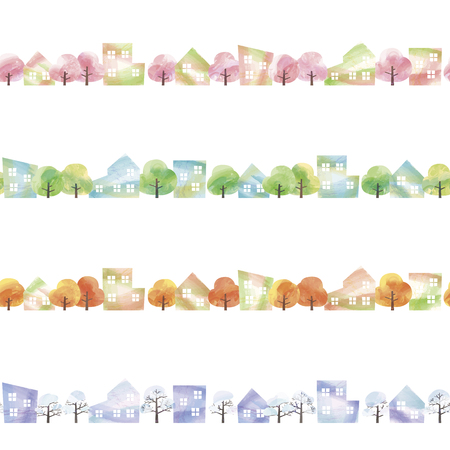 four seasons of the residential area drawn with watercolor paint 写真素材