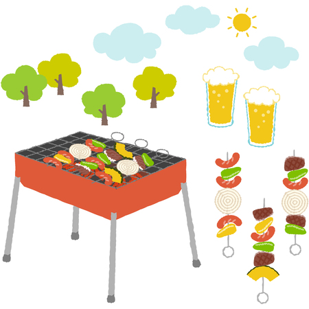 Illustration collection of things about barbecue with cute touch