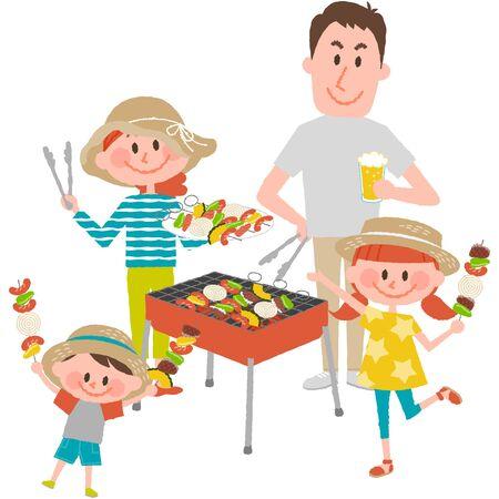 Illustration of family enjoying barbecue outdoors