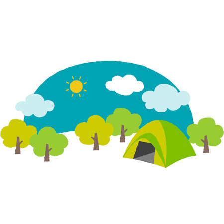 cute illustration of the campsite in the mountain  イラスト・ベクター素材
