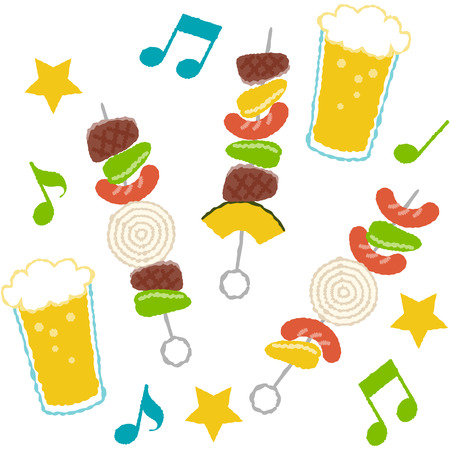 Illustration of barbecue skewers with cute touch  イラスト・ベクター素材