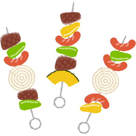 Illustration of barbecue skewers with cute touch Ilustração