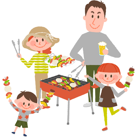 Illustration of family enjoying barbecue