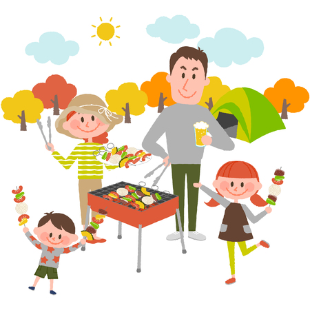Illustration of family enjoying barbecue outdoors