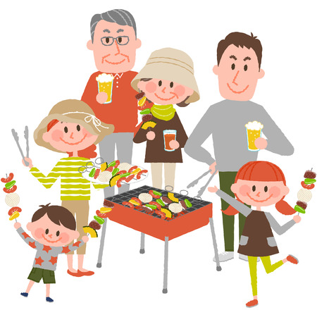 Illustration of family enjoying barbecue