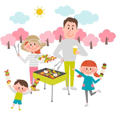 屋外バーベキューを楽しむ家族のイラスト  イラスト・ベクター素材