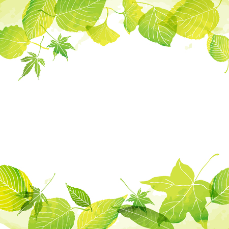 Frame of green leaves by watercolor paint