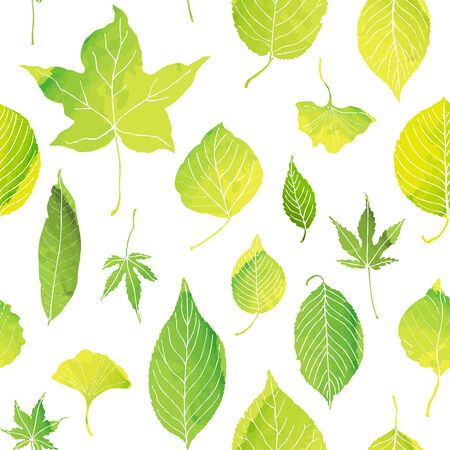Pattern of green leaves by watercolor paint