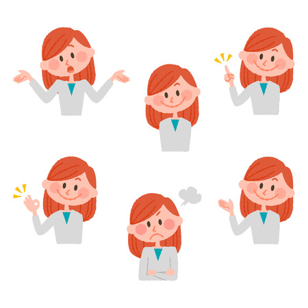 Illustration of various facial expressions of a girl 写真素材 - 73351493