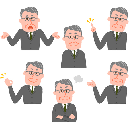 Illustration of various facial expressions of a man  イラスト・ベクター素材