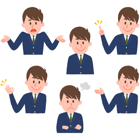 Illustration of various facial expressions of a boy  イラスト・ベクター素材