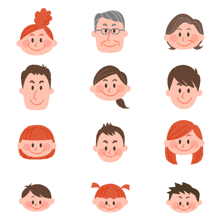 People of various ages with vector illustration  イラスト・ベクター素材