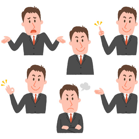 illustration of various facial expressions of a man 写真素材 - 73349879