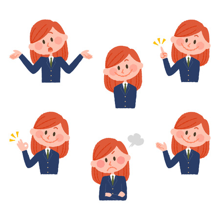 illustration of various facial expressions of a girl  イラスト・ベクター素材
