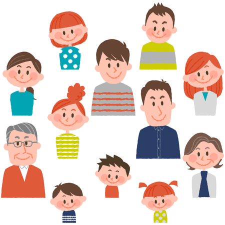 mongoloid: people of various ages with vector illustration