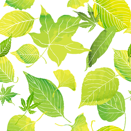 seamless pattern of green leaves by watercolor paint
