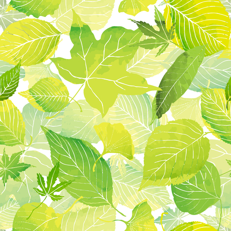 seamless pattern of green leaves by watercolor paint 写真素材 - 73436675