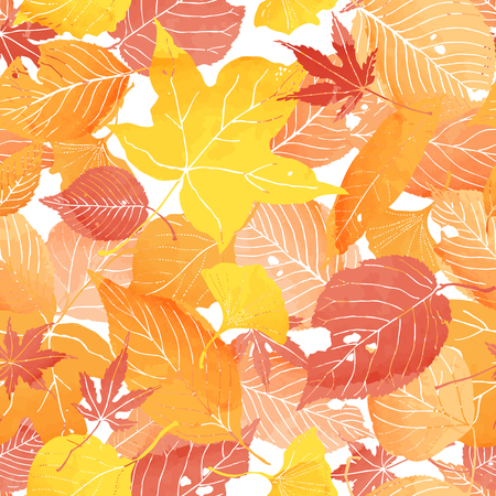 gently: seamless pattern of autumn leaves by watercolor paint