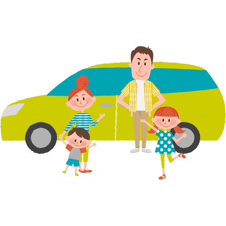A vector illustration of the family to go out by car