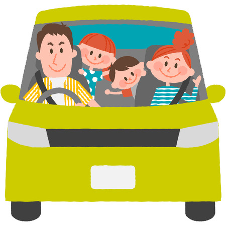 A vector illustration of the family to go out by car 写真素材 - 75529708