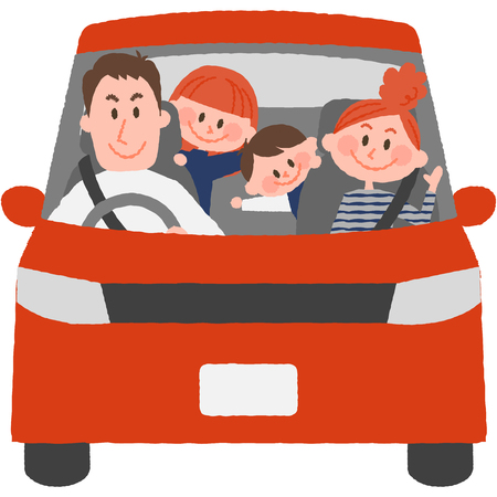 fall winter: a vector illustration of the family to go out by car