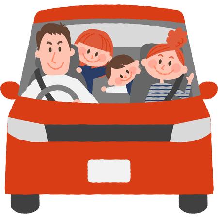Een vectorillustratie van de familie om met de auto uit te gaan Stockfoto - 75529715