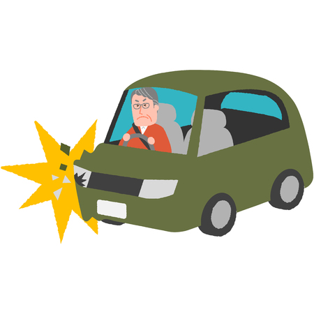 a vector illustration of a traffic accident of the elderly driver