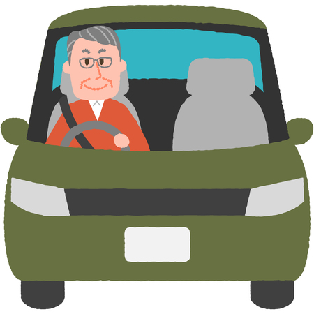a vector illustration of the elderly driver