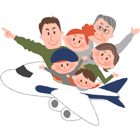 A vector illustration of the family trip by airplane. 写真素材 - 75487301